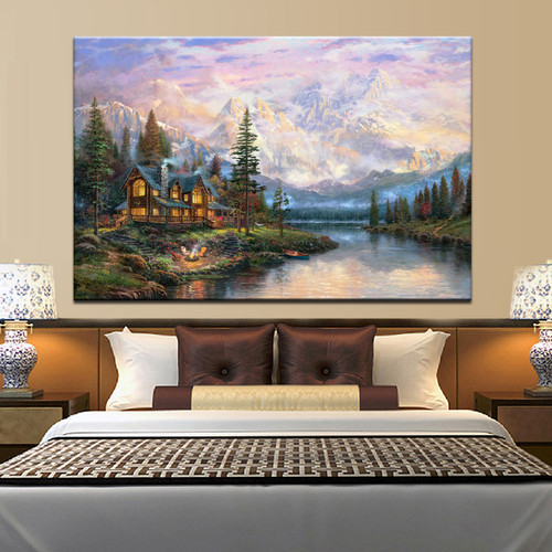 Cathedral Mountain Lodge Landscape Poster Print for bedroom wall art décor