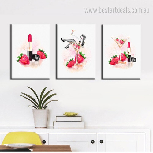 Champagne Lipstick Abstract Botanical Watercolor Framed Painting Picture Canvas Print for Room Wall Decor