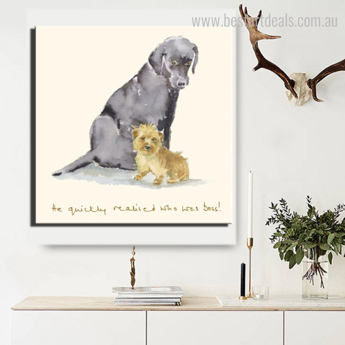 Two Cute Dogs Animal Quote Modern Framed Vignette Portrait Canvas Print for Room Wall Equipment