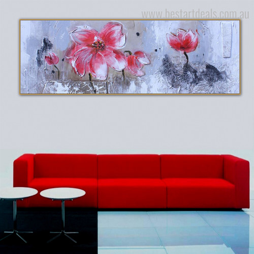 Pink Blooms Floral Panoramic Modern Framed Portmanteau Portrait Canvas Print for Room Wall Adornment