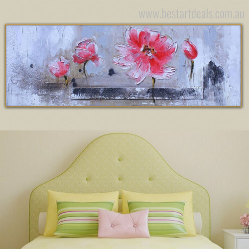 Buds Floral Panoramic Modern Framed Portmanteau Image Canvas Print for Room Wall Onlay