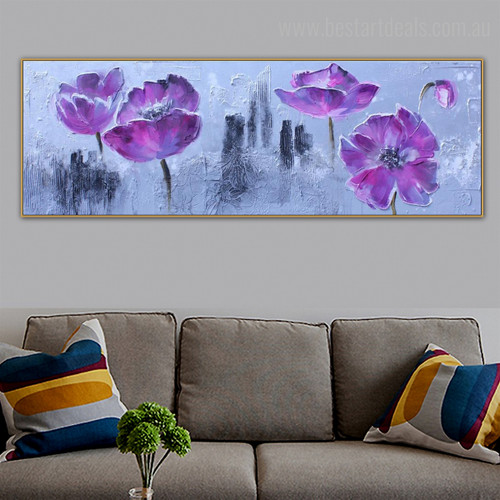 Purple Blossom Floral Panoramic Modern Framed Effigy Photo Canvas Print for Room Wall Assortment