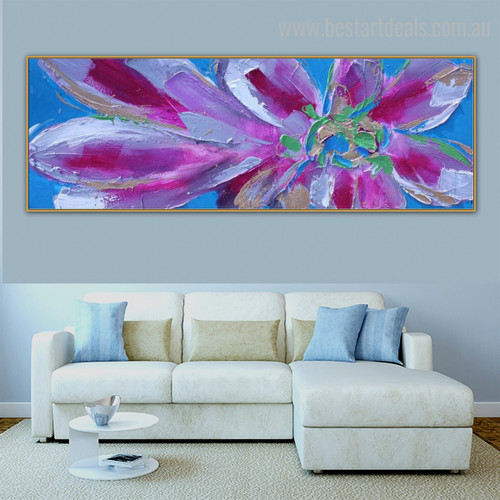 Calico Petals Floral Panoramic Modern Framed Smudge Photo Canvas Print for Room Wall Tracery