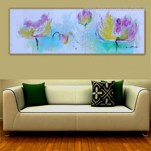 Dapple Burgeon Floral Panoramic Modern Framed Painting Photo Canvas Print for Room Wall Onlay