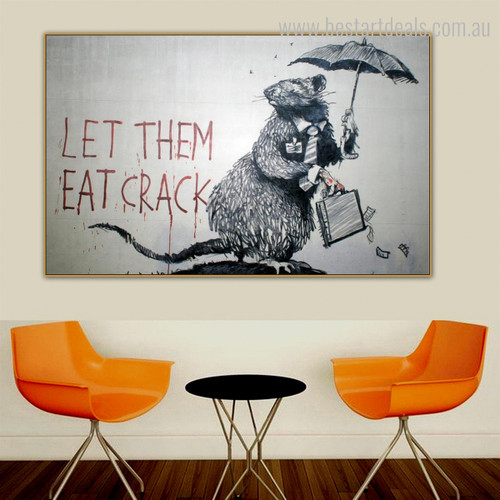 Mouse Under Umbrella Animal Modern Graffiti Framed Painting Photo Canvas Print for Room Wall Outfit