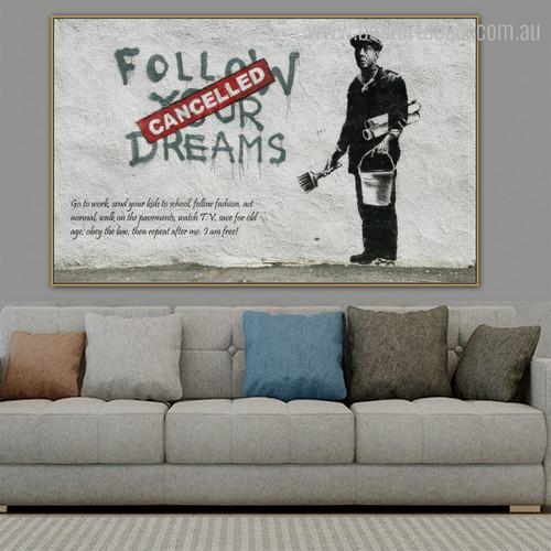 Follow Dreams Cancelled Modern Graffiti Framed Likeness Picture Canvas Print for Room Wall Equipment