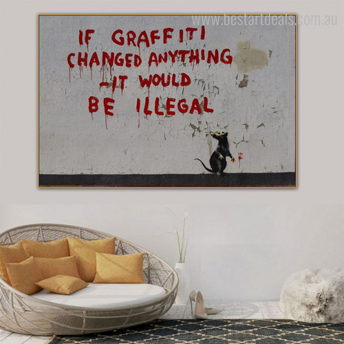 Changed Anything Typography Modern Graffiti Framed Vignette Image Canvas Print for Room Wall Getup
