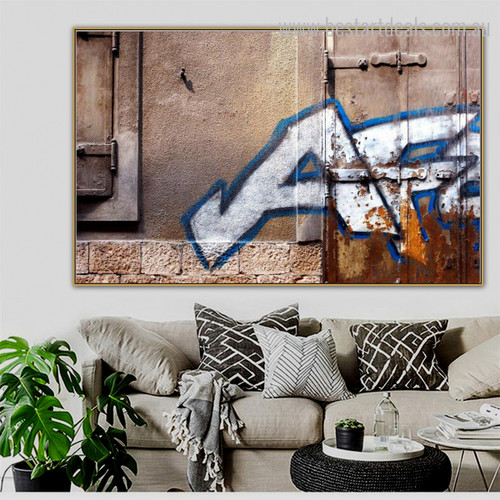 Door Brick Abstract Modern Graffiti Framed Vignette Portrait Canvas Print for Room Wall Molding