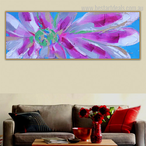 Motley Bloom Abstract Botanical Panoramic Modern Framed Portmanteau Image Canvas Print for Room Wall Onlay