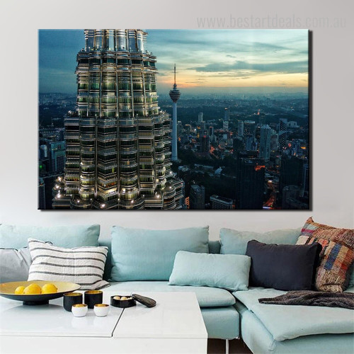 Kuala Lumpur Cityscape Modern Framed Effigy Image Canvas Print for Living Room Wall Decor