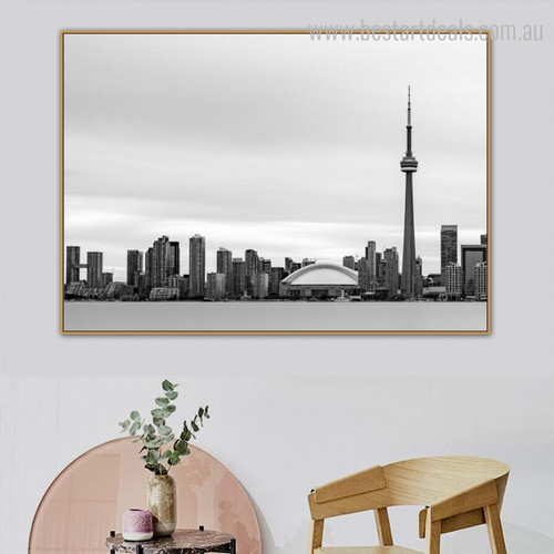 CN Tower Cityscape Modern Framed Effigy Photo Canvas Print for Room Wall Getup