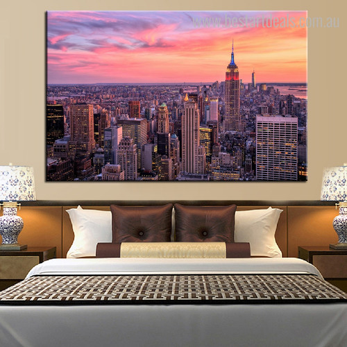 Empire Building Sunset Cityscape Framed Smudge Picture Canvas Print for Room Wall Ornament