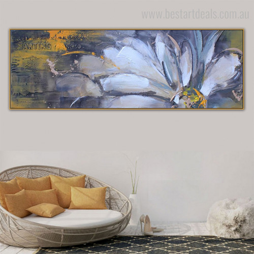 Half Bloom Abstract Panoramic Botanical Framed Painting Portrait Canvas Print for Room Wall Decoration