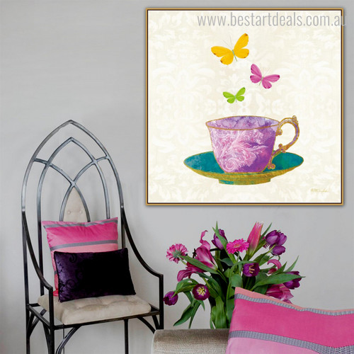 Cup Plate Abstract Modern Framed Vignette Photo Canvas Print for Room Wall Garniture