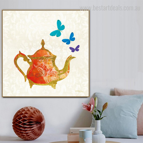 The Kettle Abstract Modern Framed Vignette Portrait Canvas Print for Room Wall Adornment