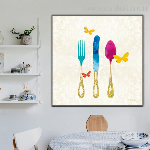 Spoon Knife Abstract Modern Framed Perspective Portrait Canvas Print for Room Wall Moulding