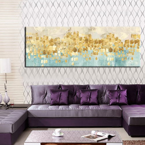 Gold Money Sea Wave Abstract Painting Print for Living Room Wall Art Décor.