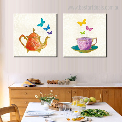 Kettle Cup Abstract Modern Framed Painting Picture Canvas Print for Room Wall Tracery