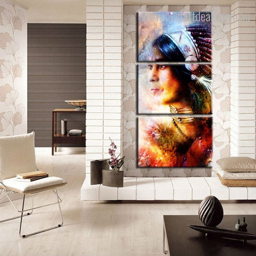 Feathered Girl Abstract Figure Framed Effigy Picture Canvas Print for Room Wall Outfit