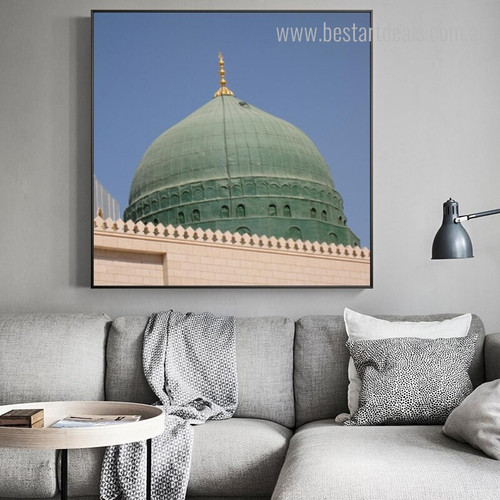 Green Dome Islamic Religious Modern Framed Resemblance Photo Canvas Print for Room Wall Tracery