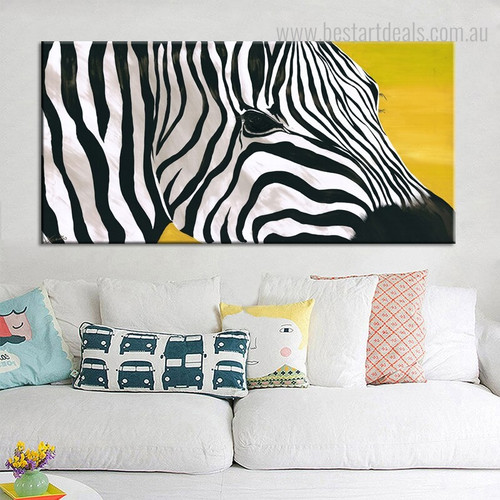 Abstract Zebra Animal Framed Smudge Picture Canvas Print for Room Wall Outfit
