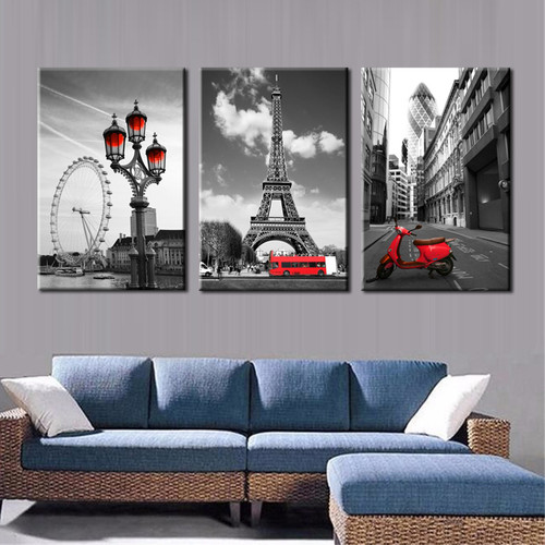 Modern Cities & Eiffel Tower in Paris Paintings Print for House Wall Décor.