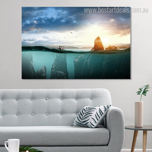Half Underwater Landscape Modern Framed Painting Picture Canvas Print for Living Room Wall Decor