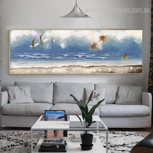 Beach Seascape Abstract Panoramic Modern Framed Vignette Picture Canvas Print for Room Wall Garnish