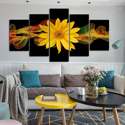 Sunflower Botanical Contemporary Framed Perspective Image Canvas Print for Room Wall Adornment