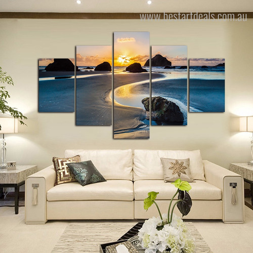 Sea Sunset Landscape Nature Framed Portmanteau Portrait Canvas Print for Room Wall Assortment