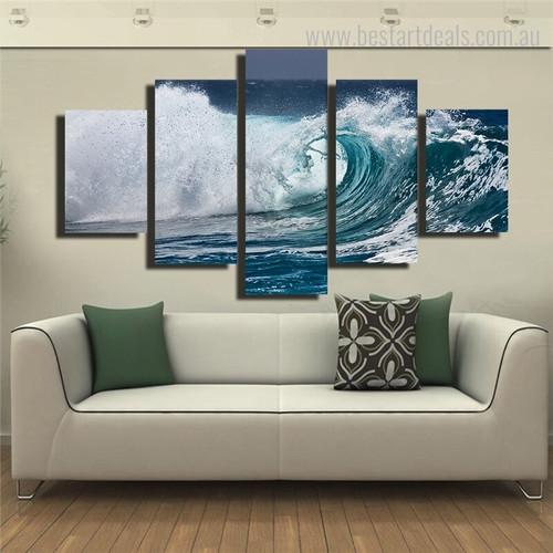 Storm Surge Seascape Landscape Framed Portmanteau Picture Canvas Print for Room Wall Ornamentation