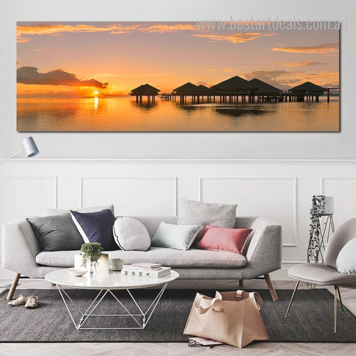 Evening Landscape Panoramic Contemporary Framed Painting Photo Canvas Print for Room Wall Embellishment