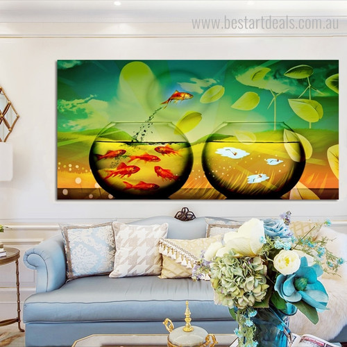 Jumping Goldfish Animal Modern Framed Smudge Picture Canvas Print for Room Wall Adornment
