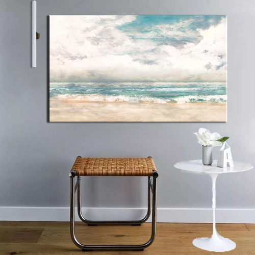 Abstract Turquoise Modern Beach Surf Painting Print for Living Room Wall Art.
