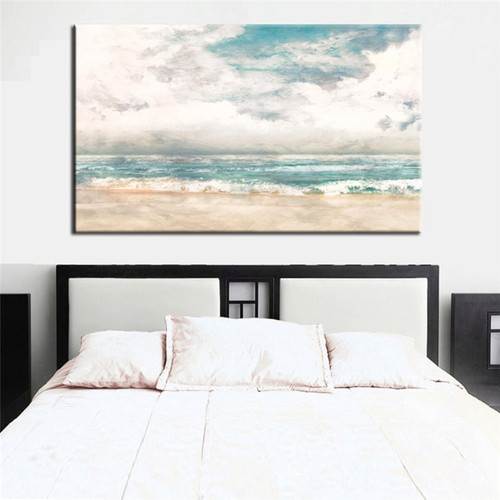 Abstract Turquoise Modern Beach Surf Painting Print for Bedroom Wall Art Décor.