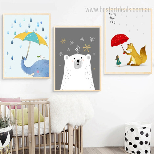 Jumbo Bear Animated Animal Kids Framed Painting Photo Canvas Print for Room Wall Adornment