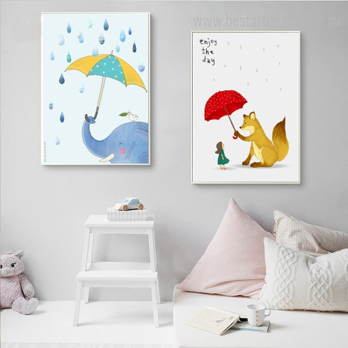 Fox Elephant Animated Animal Kids Framed Painting Photo Canvas Print for Room Wall Adornment