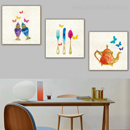 Colorful Utensils Abstract Modern Framed Vignette Image Canvas Print for Dining Room Wall Outfit