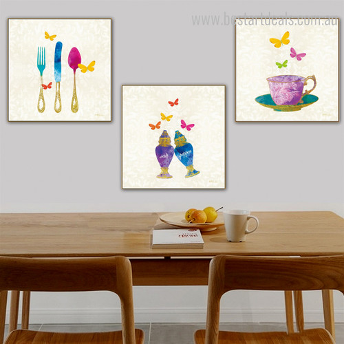 Dapple Utensil Abstract Modern Framed Perspective Photo Canvas Print for Dining Room Wall Equipment