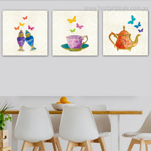 Salt Pepper Abstract Modern Framed Painting Picture Canvas Print for Dining Room Wall Drape