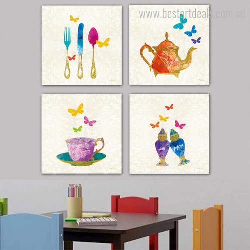 Tea Rummer Abstract Modern Framed Painting Portrait Canvas Print for Room Wall Finery