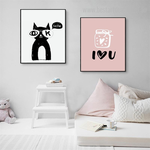 Cat Heart Quote Animal Modern Nordic Framed Effigy Portrait Canvas Print for Room Wall Decoration