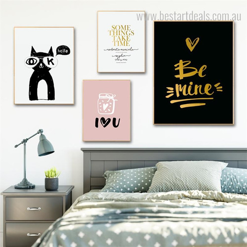 Be Mine Heart Quote Animal Modern Nordic Framed Effigy Picture Canvas Print for Room Wall Adornment
