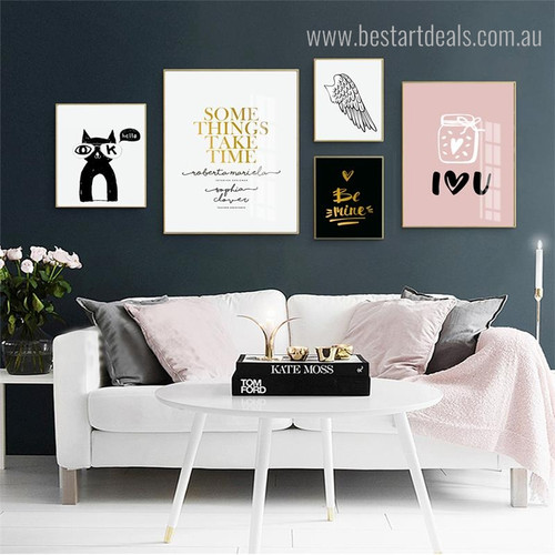 Mine Heart Quote Modern Nordic Framed Portraiture Image Canvas Print for Living Room Wall Assortment