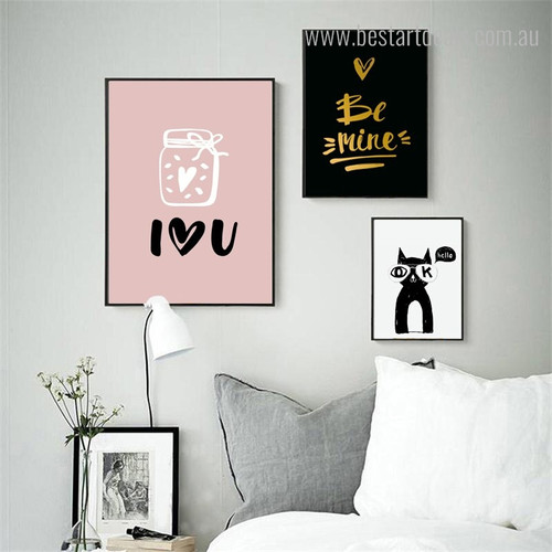 Hello Kitty Animal Quote Modern Nordic Framed Portraiture Picture Canvas Print for Room Wall Onlay