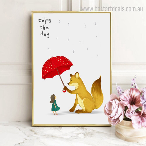 Enjoy the Day Kids Animal Quote Framed Smudge Pic Canvas Print for Room Wall Finery