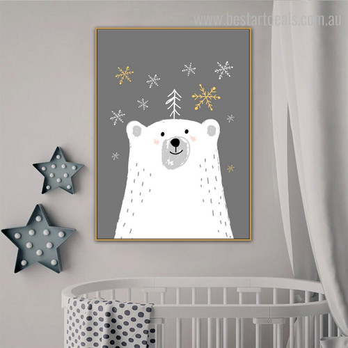 Ice Bear Kids Animal Framed Scheme Picture Canvas Print for Room Wall Decoration