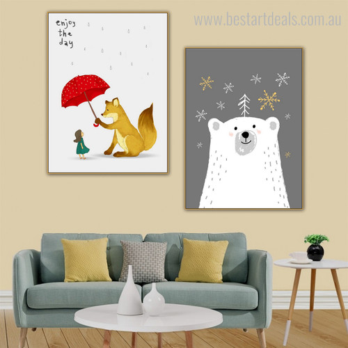 Ursus Maritimus Kids Animal Framed Effigy Picture Canvas Print for Room Wall Getup