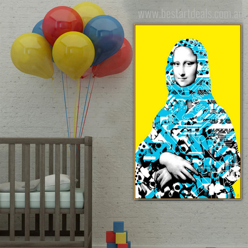 Mona Lisa Painting Abstract Contemporary Framed Picture Canvas Print for Room Wall Decoration
