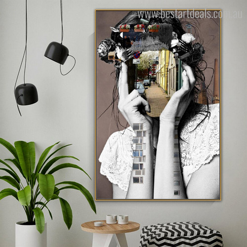 Urban Street Abstract City Contemporary Framed Resemblance Portrait Canvas Print for Room Wall Ornament